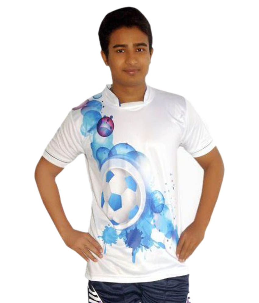 Dyed Colours White Polyester T-Shirt with Short