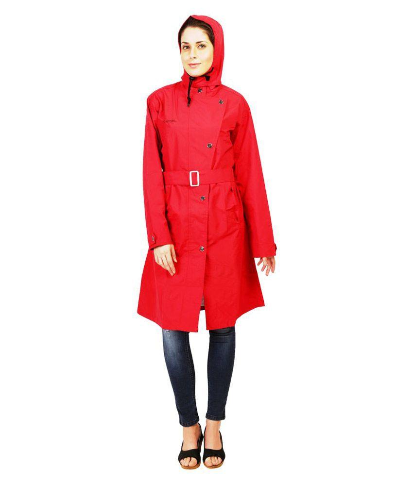 Zeel Red Polyester Long Raincoat
