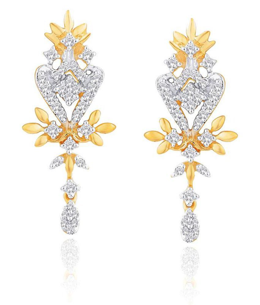 Gili 18k BIS Hallmarked Yellow Gold Diamond Drop Earrings
