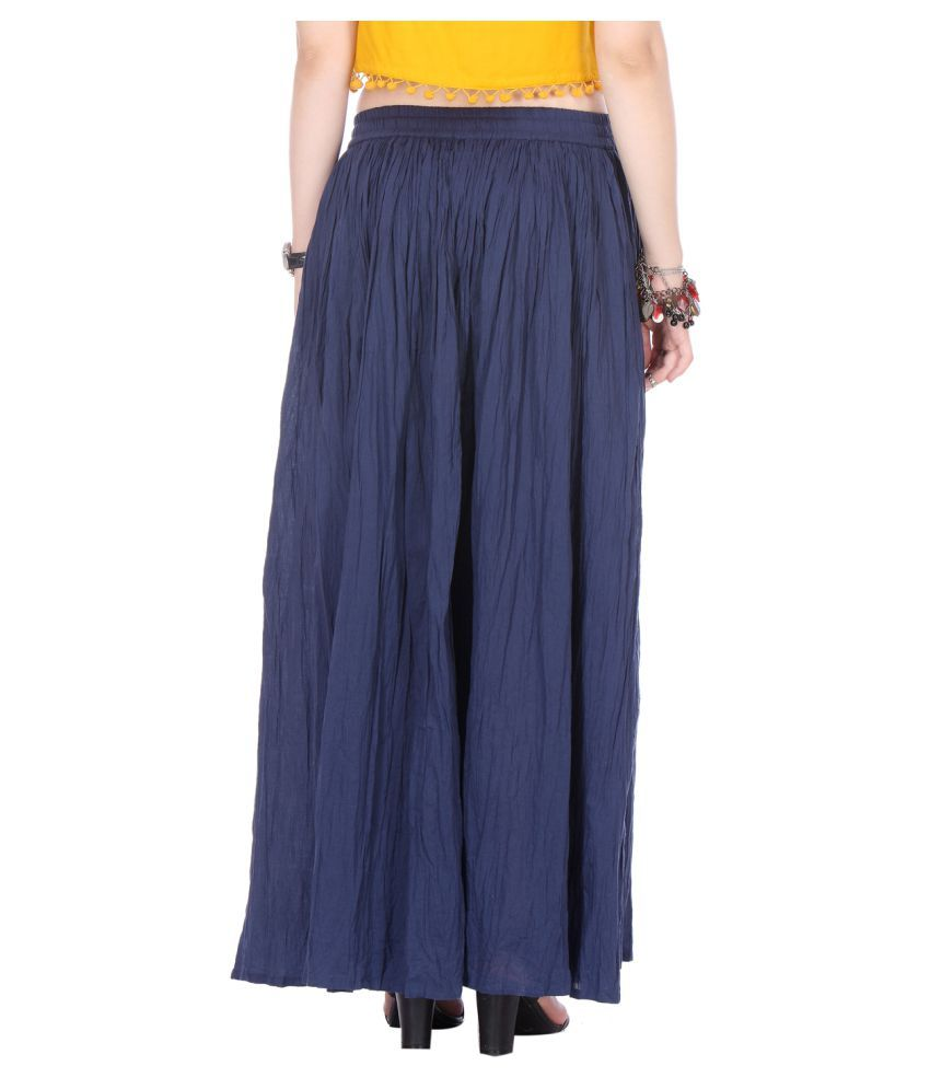 2a0128212a Buy Varanga Navy Cotton A-Line Skirt Online at Best Prices in India -  Snapdeal
