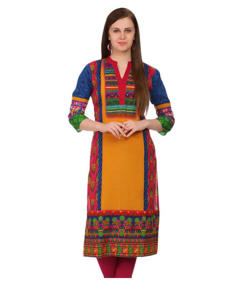 3f7e71b16e Sabhyata Multicoloured Cotton Straight Abstract Kurti - Buy Sabhyata  Multicoloured Cotton Straight Abstract Kurti Online at Best Prices in India  on Snapdeal