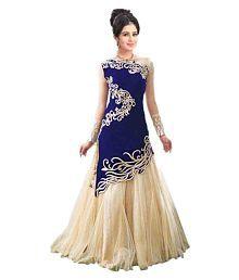 Ramdev Enterprises Blue Art Silk Anarkali Gown Semi-Stitched Suit