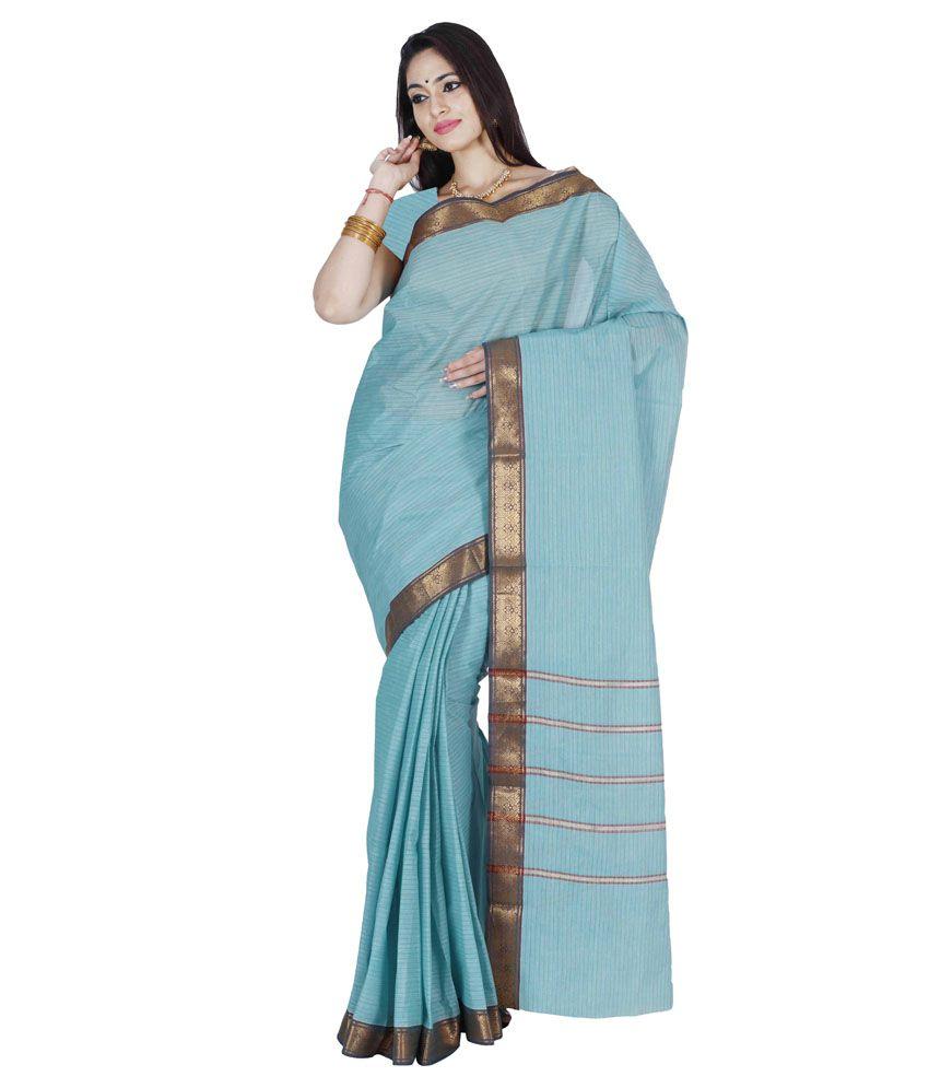 Anusha Blue Polycotton Saree
