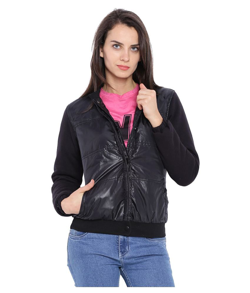 Campus Sutra Black Nylon Quiltted Jackets