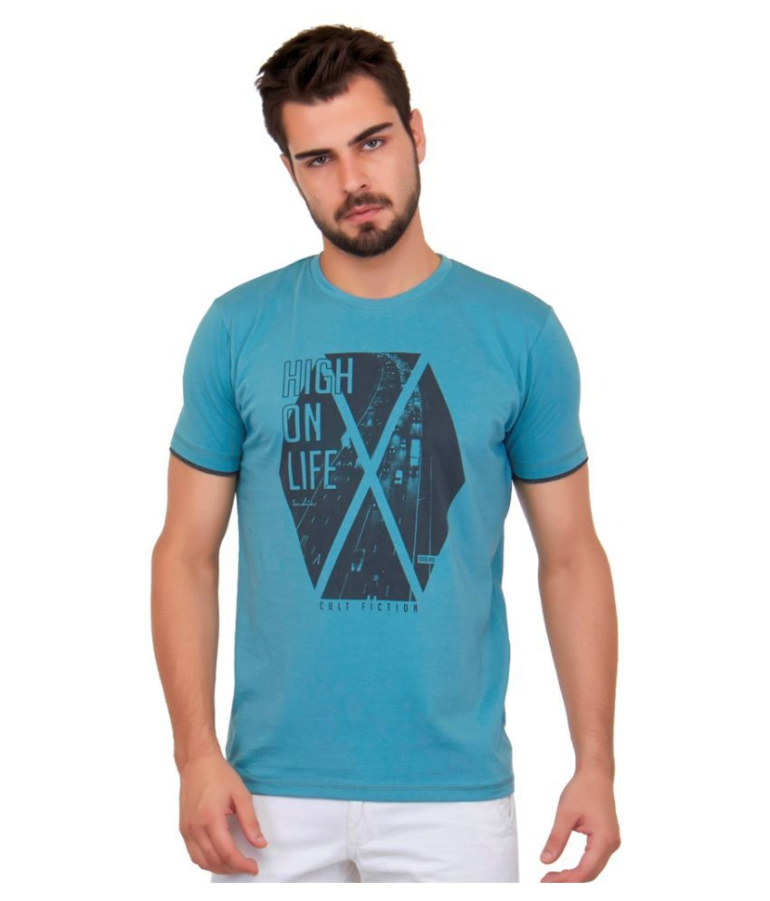 Cult Fiction Blue Round T-Shirt
