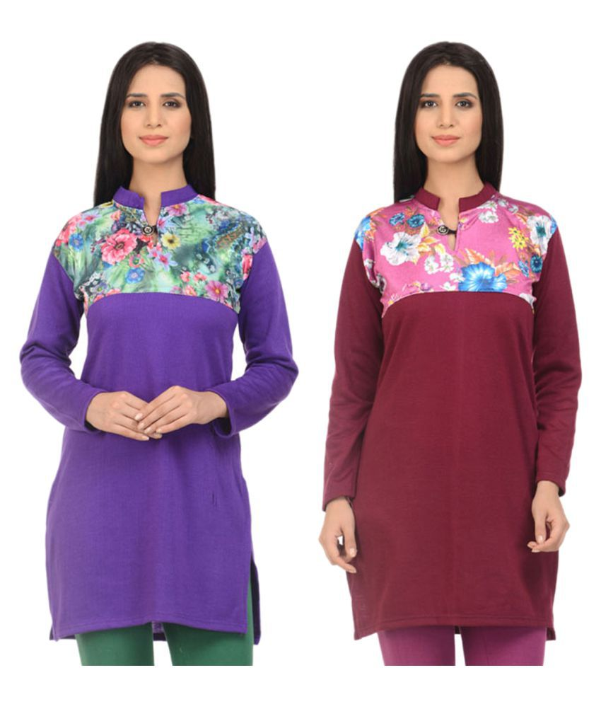 Kritika World Multicoloured Woollen Straight Self print Kurti