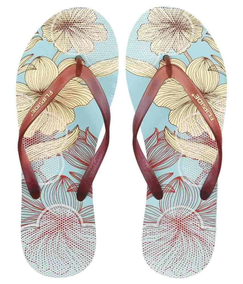 Flipside Womens Floral Lace Aqua Flipflops
