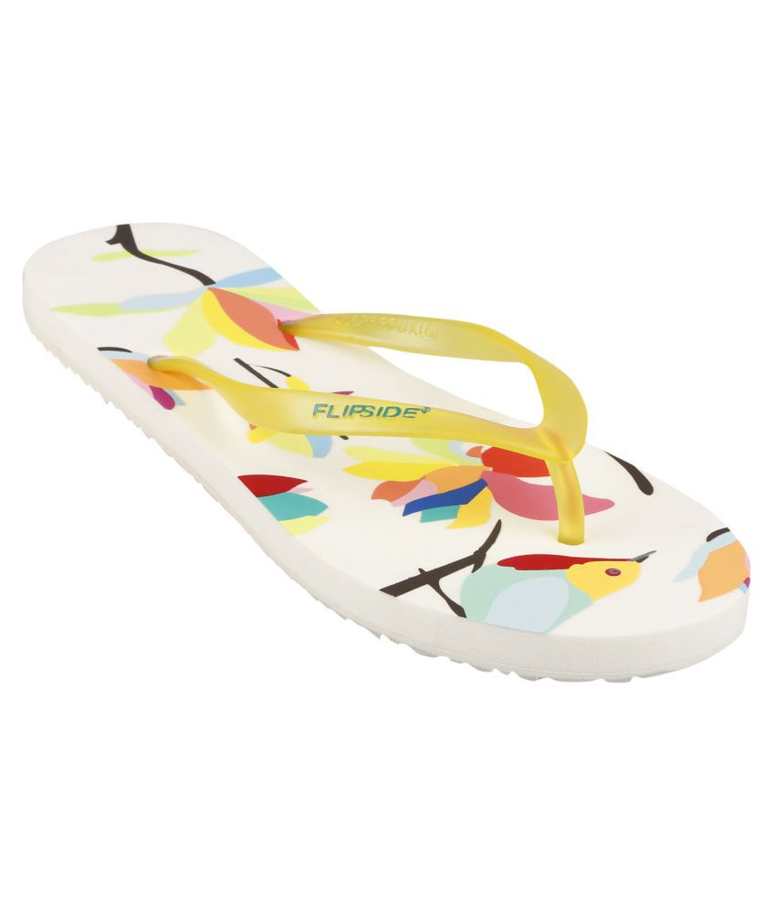 Flipside Womens Yellow Flowers Grey Flipflops