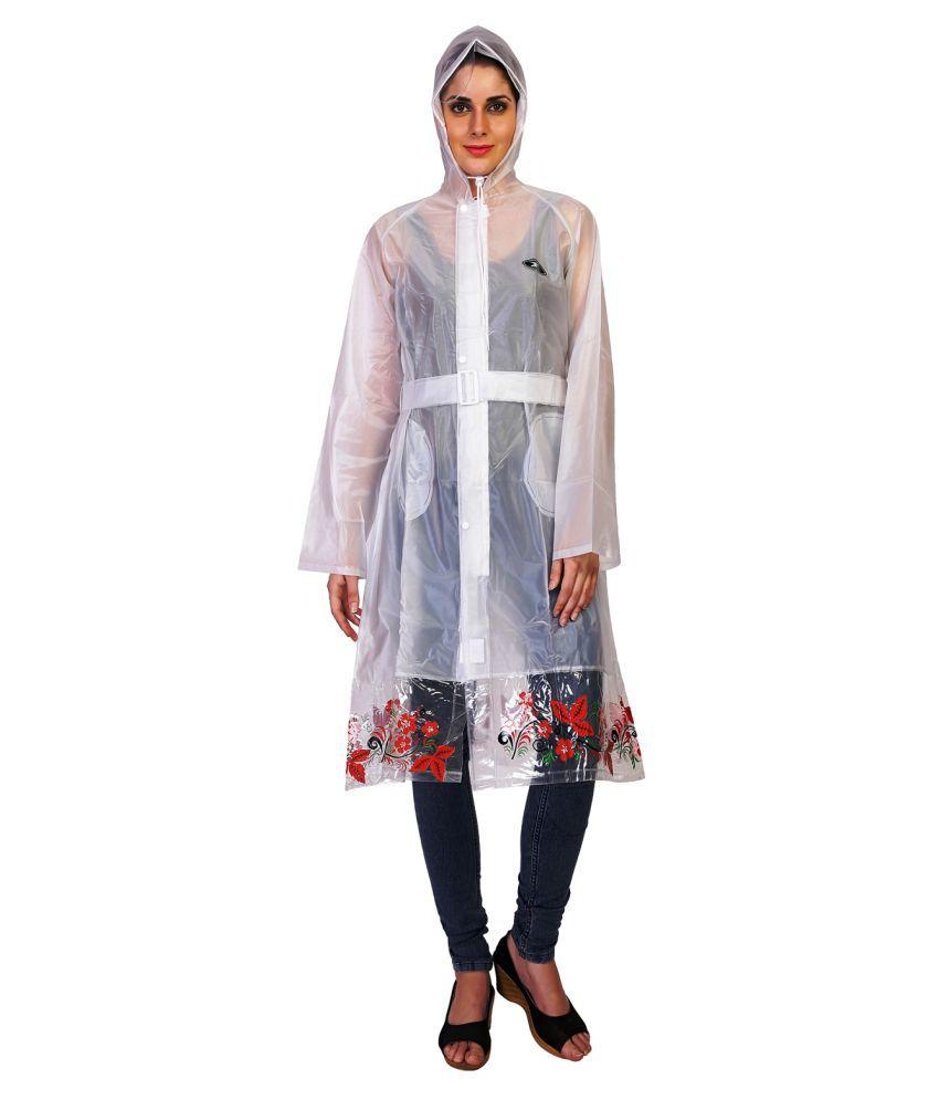 Zeel White Polyester Long Raincoat
