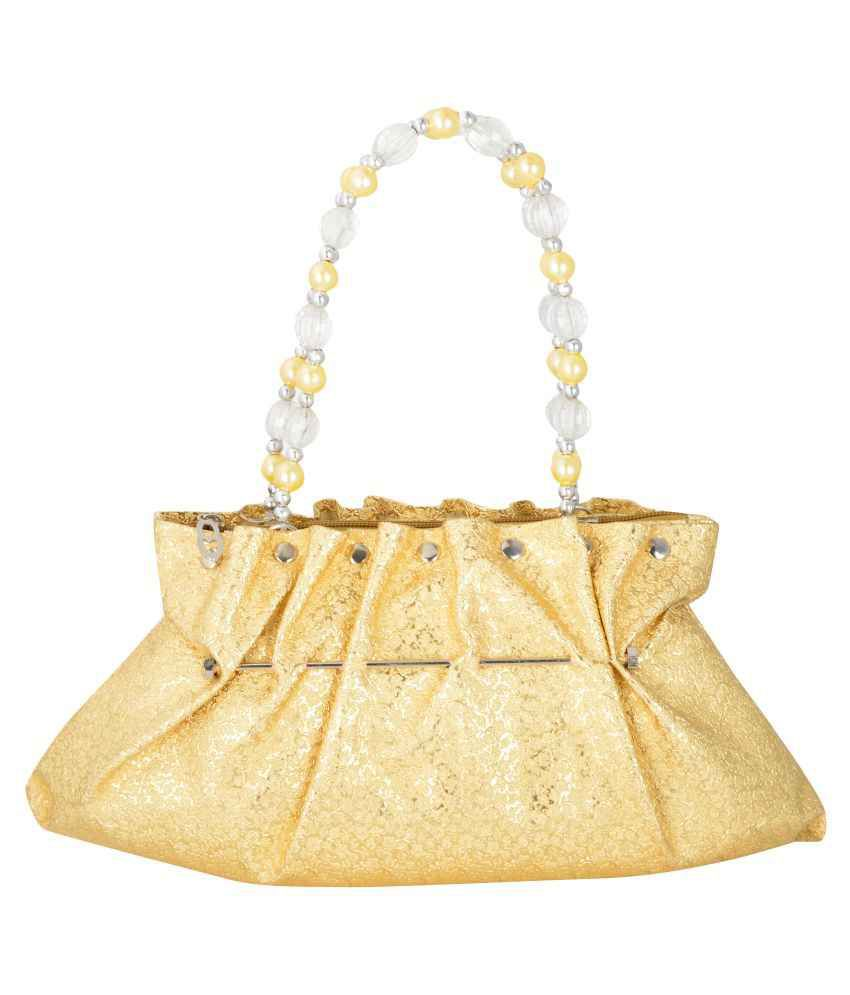 Glambirds Gold Faux Leather Clutch
