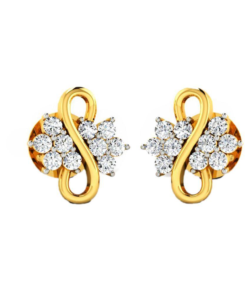 JewelsBlue 14k BIS Hallmarked Yellow Gold Diamond Studs