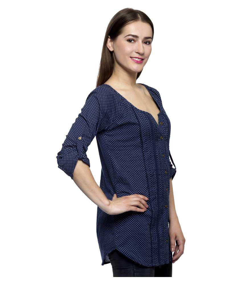 c22b77fbc14 One Femme Blue Cotton Regular Tops - Buy One Femme Blue Cotton ...