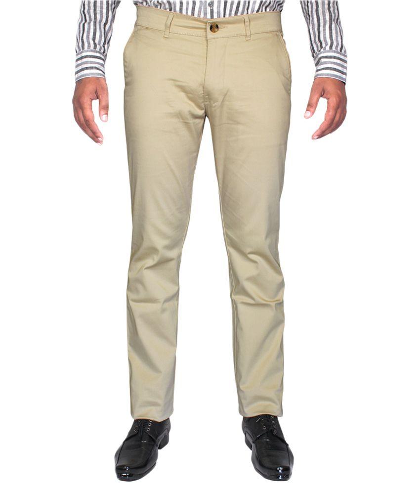 CAY Beige Regular Flat Trouser