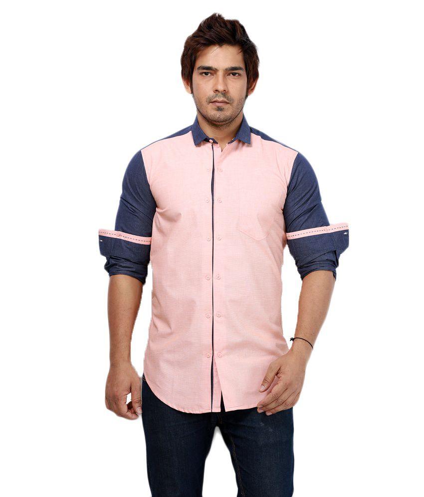 Rapphael Pink Casuals Slim Fit Shirt