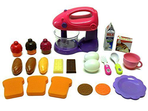 Toy Kitchen 22 Piece Set 1 Motorized Mixer 21 Play Food & Accessory Items