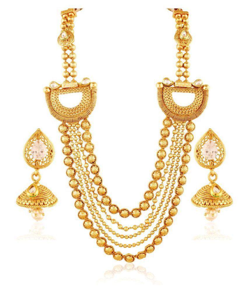 Accessher Golden Necklace Set