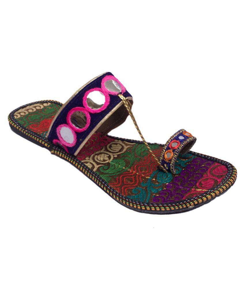 Indcrown Multi Color Flat Ethnic Footwear