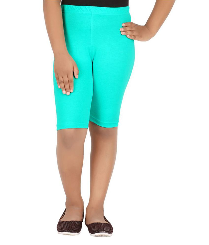 Knit Abc Turquoise Cotton Cycling Short