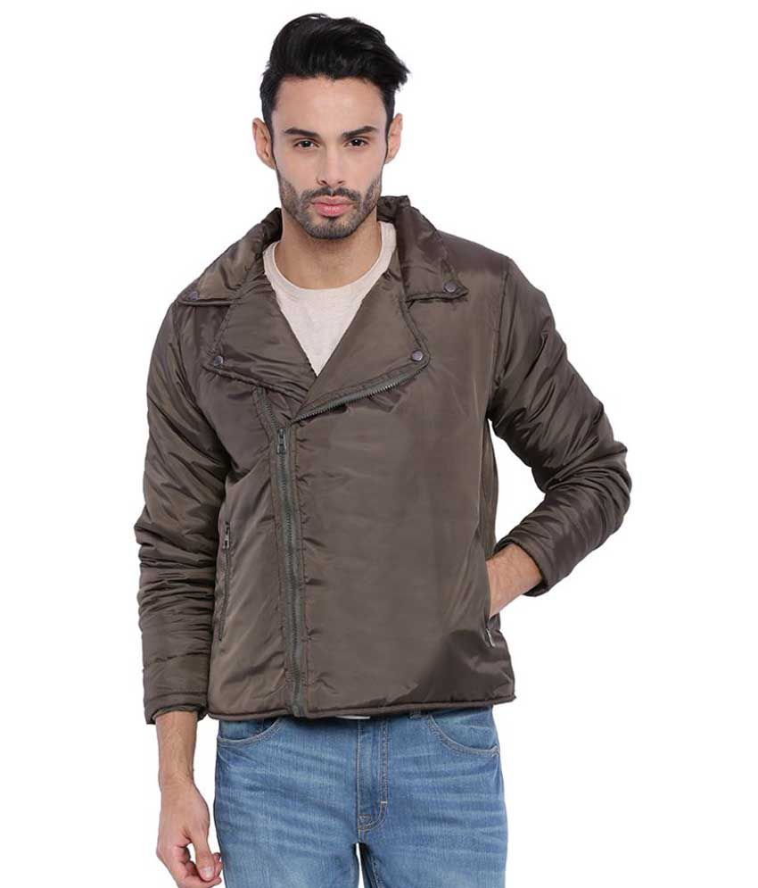 Campus Sutra Brown Nylon Quilted & Bomber Jacket