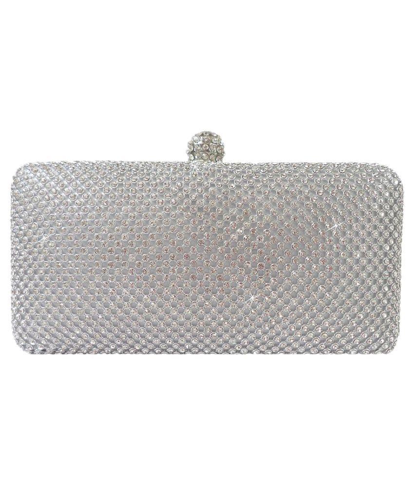 Catman Silver Faux Leather Box Clutch