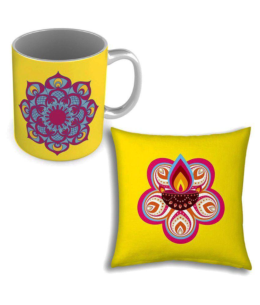 Shilpbazaar Single Satin Cushion Cover with Mug