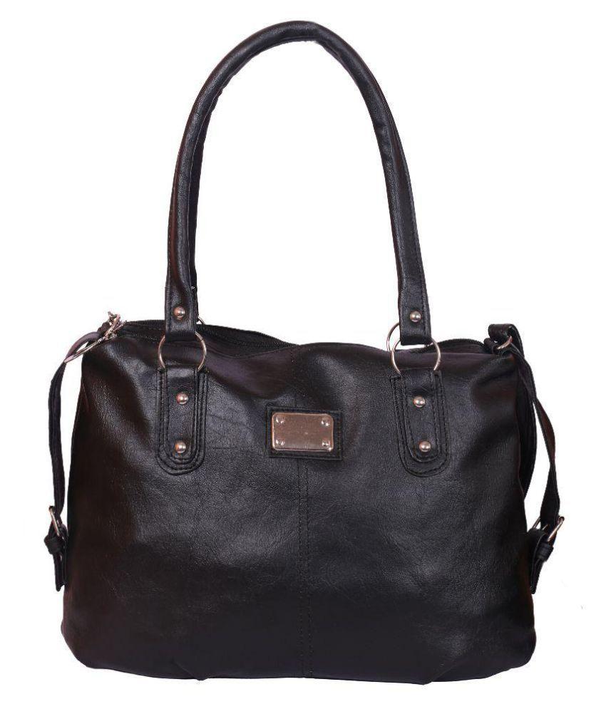 Shankey Collection Black Faux Leather Shoulder Bag