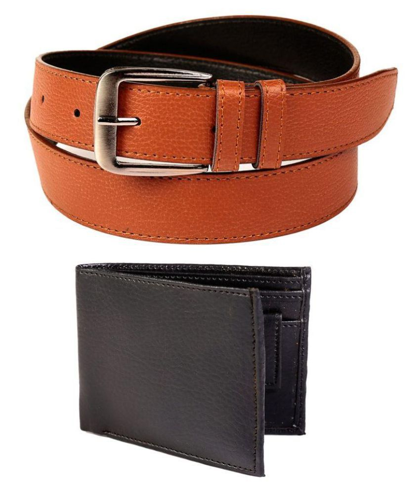 Coovs Tan Faux Leather Formal Belts with Wallet