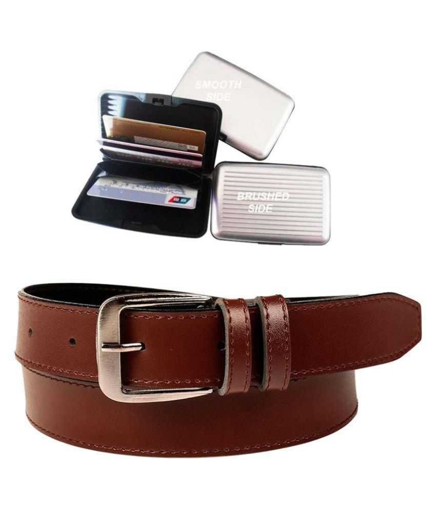 Coovs Brown Faux Leather Formal Belt with Card Holder