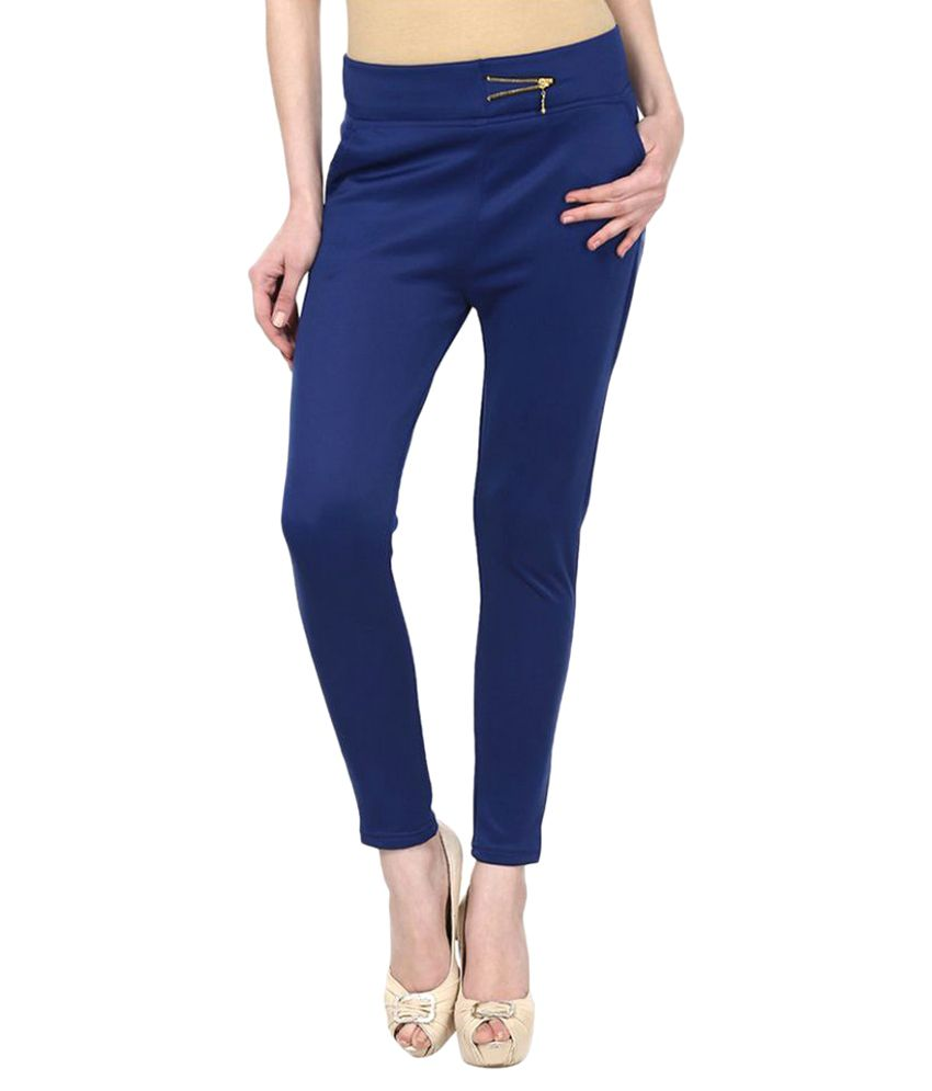 Harshaya G Blue Cotton Lycra Jeggings