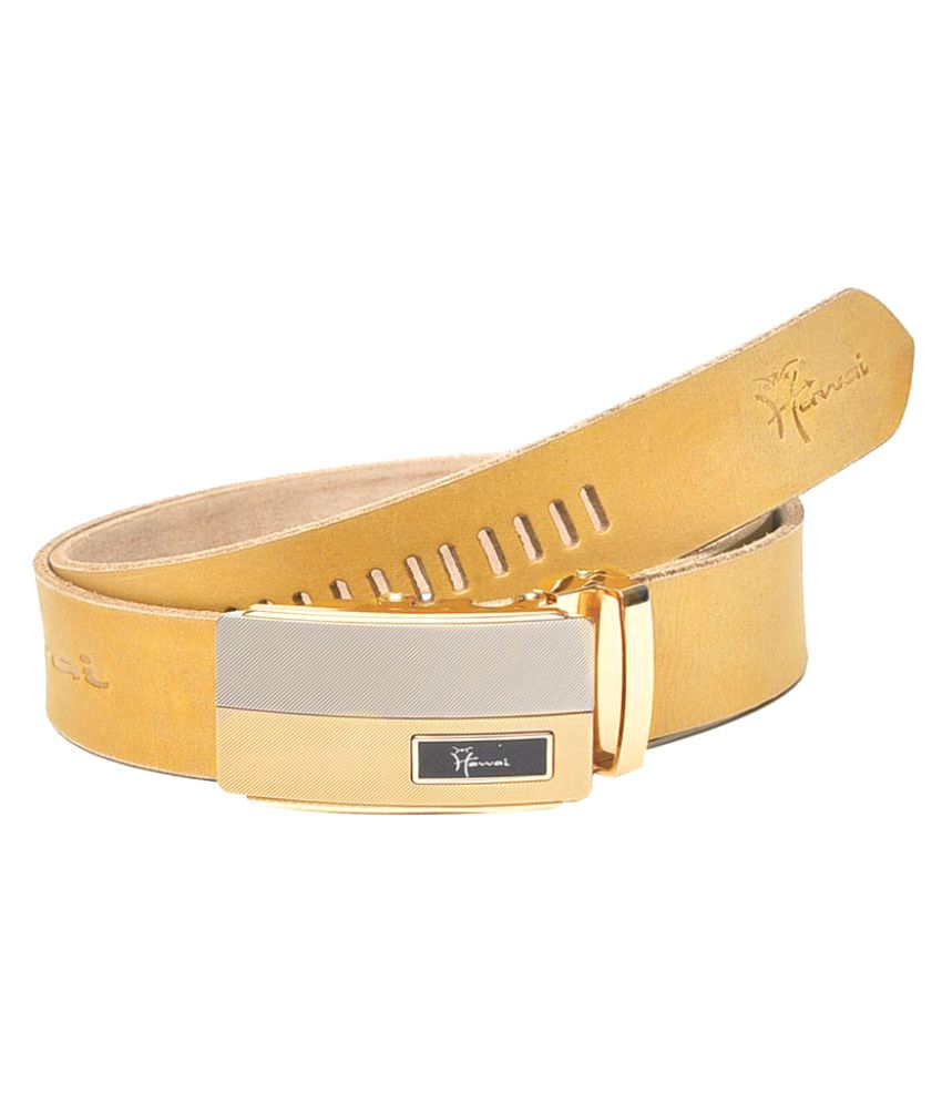 Hawai Yellow Leather Casual Belts