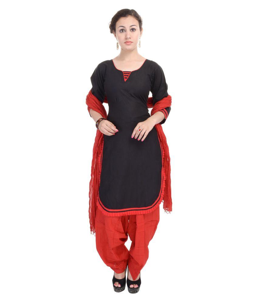 Aafra Fashion Black Cotton Straight