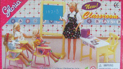 Barbie Size Dollhouse Furniture Classroom Chairs Desk Chalkboard