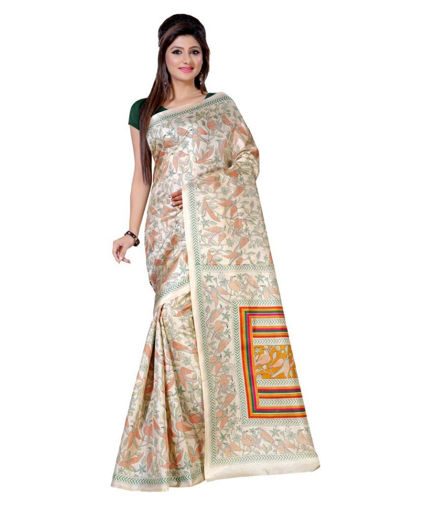 Apple Creation  Beige Art Silk Saree