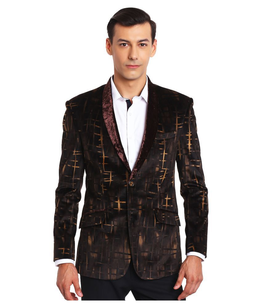 Canary London Brown Printed Casual Tuxedo