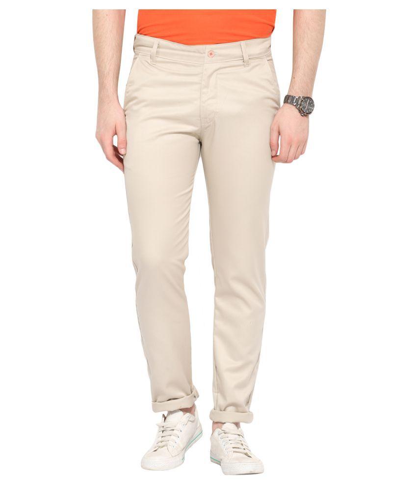 Ennoble Beige Slim Flat Trouser