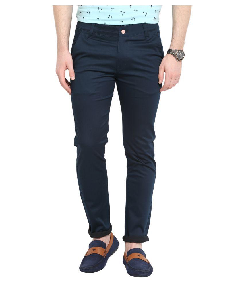 Ennoble Navy Blue Slim Flat Trouser