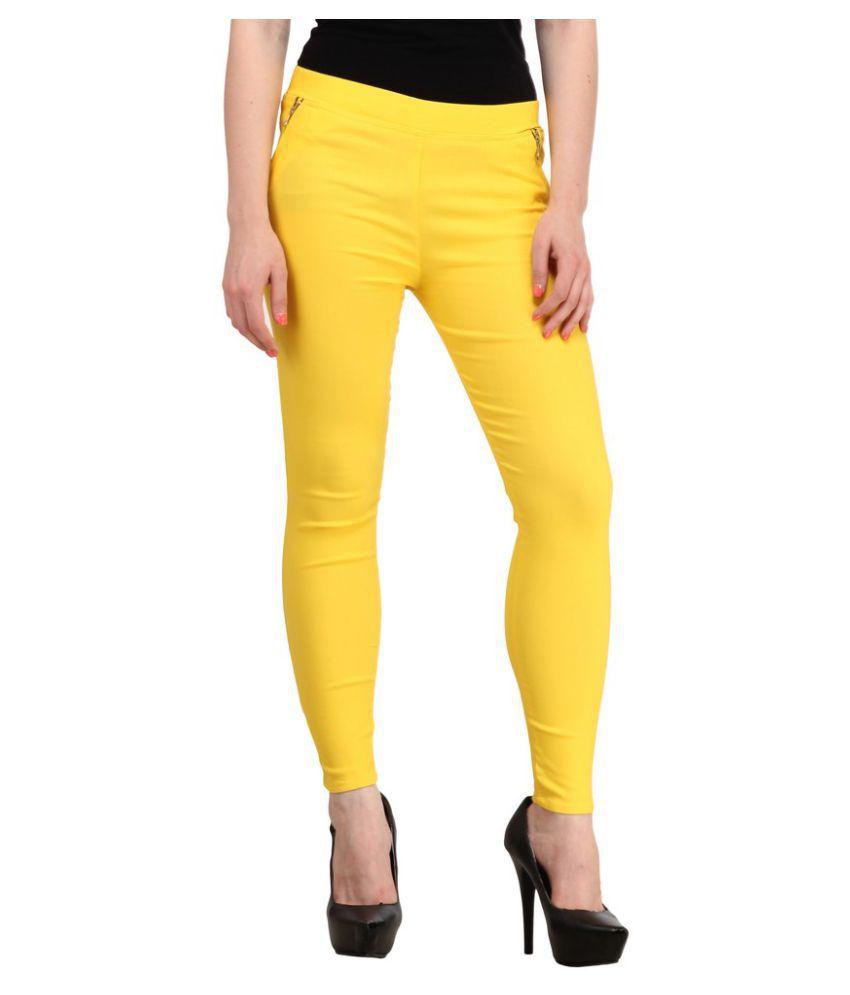 Harshaya G Yellow Cotton Lycra Jeggings
