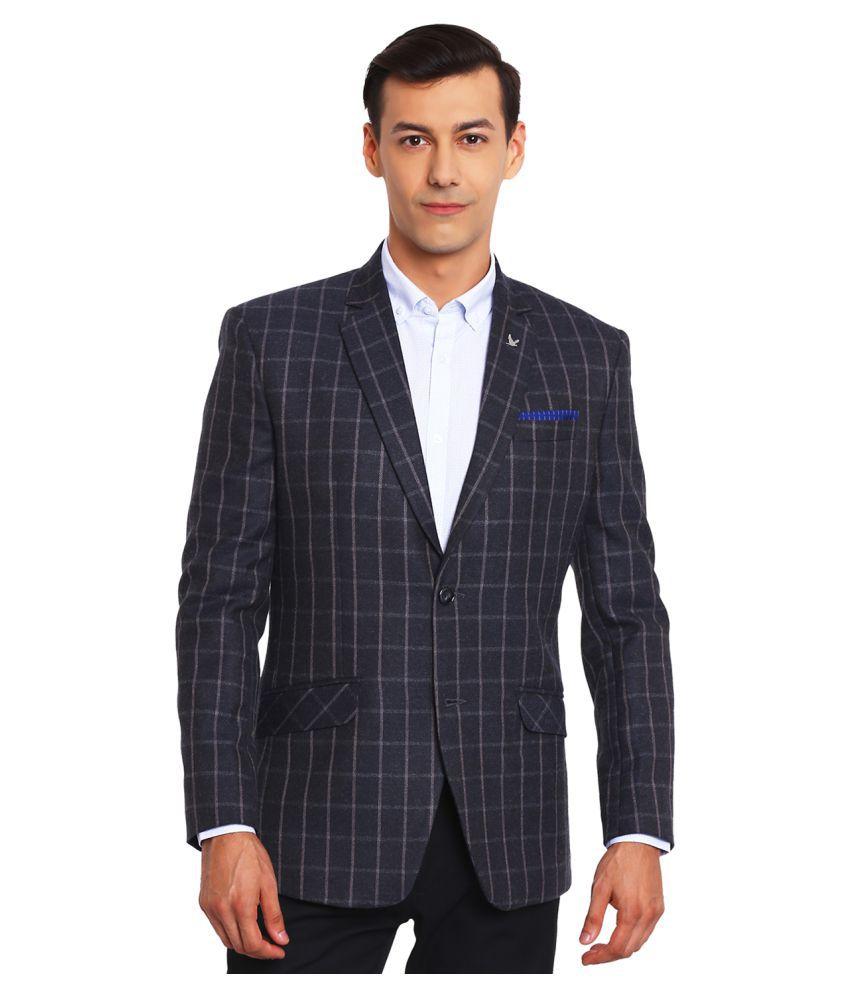 Canary London Black Checks Casual Tuxedo with Pocket Square