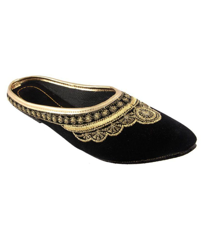 Fans Footcraft Black Flat Ethnic Footwear