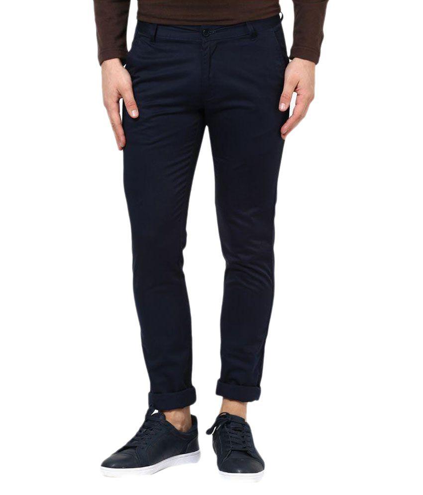 Rigo Navy Blue Slim Flat Trouser