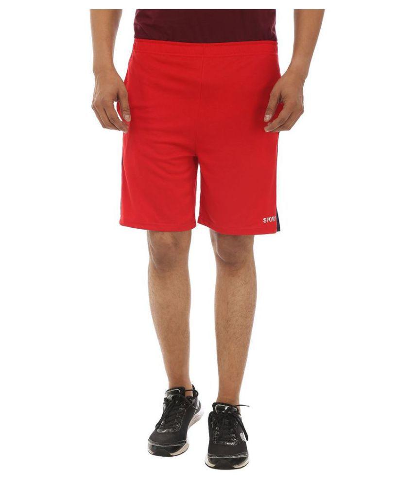 TeeMoods Red Cotton Outdoor & Adventure Shorts Single