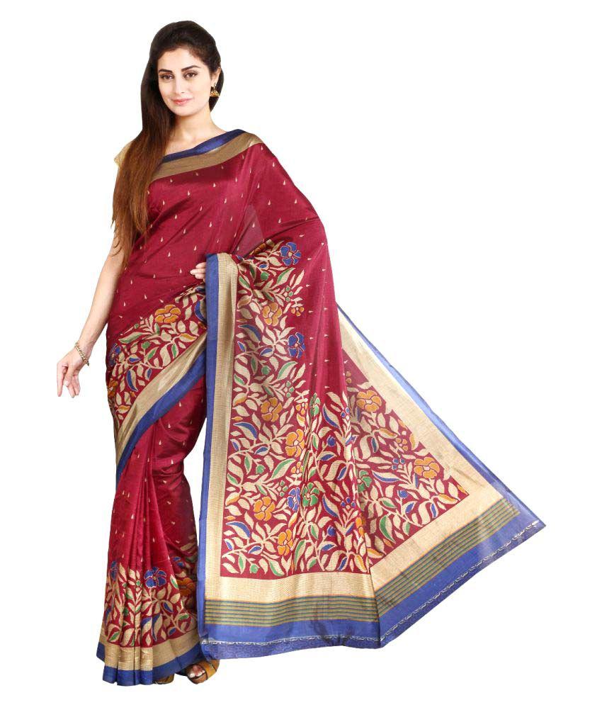 Satrang Maroon Raw silk Saree