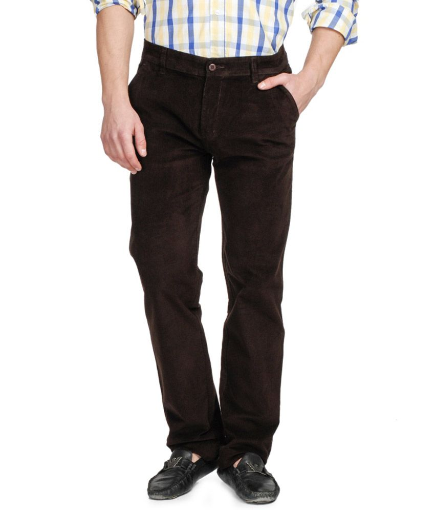 Ruace Brown Regular Fit Corduroy With Key Chain