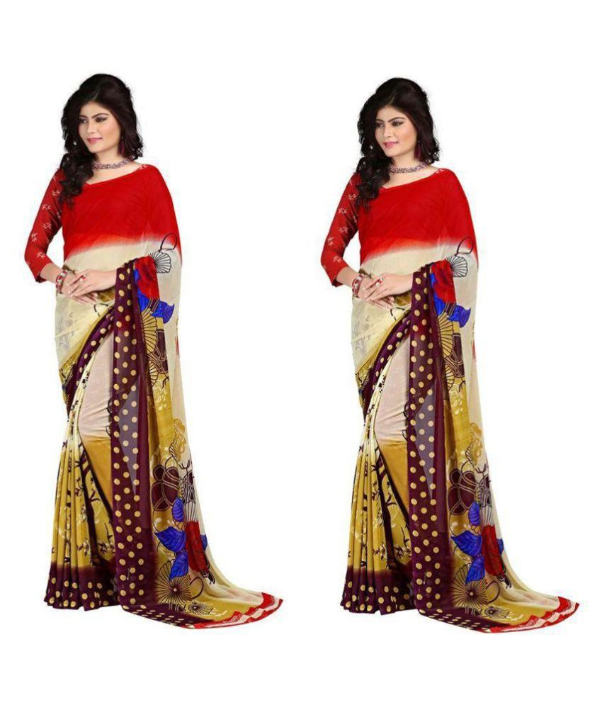 Stylobby Multicoloured Georgette Saree Combos