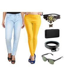 Ansh Fashion Wear Multi Color Cotton Lycra Jeans And Jeggings With Belt