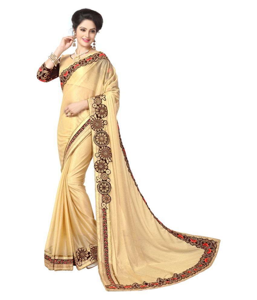 667c382508b7 Elevate Women Brown and Beige Lycra Saree - Buy Elevate Women Brown and  Beige Lycra Saree Online at Low Price - Snapdeal.com