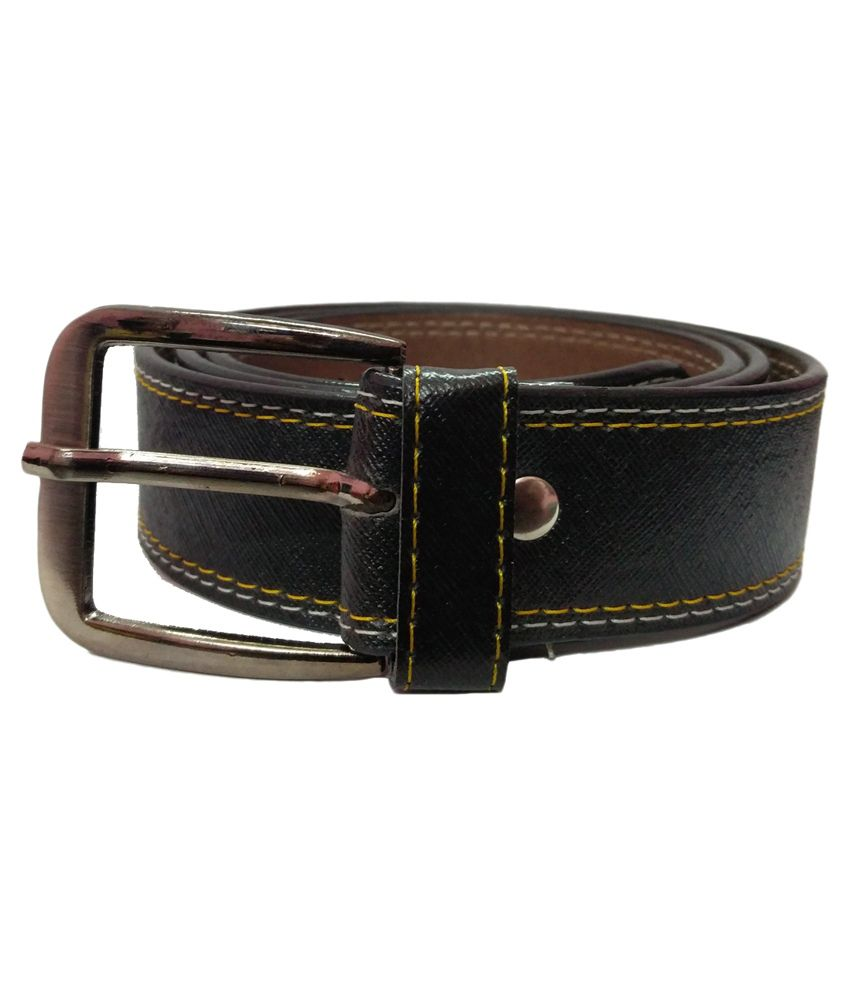 Ansh Fashion Wear Black Faux Leather Casual Belts