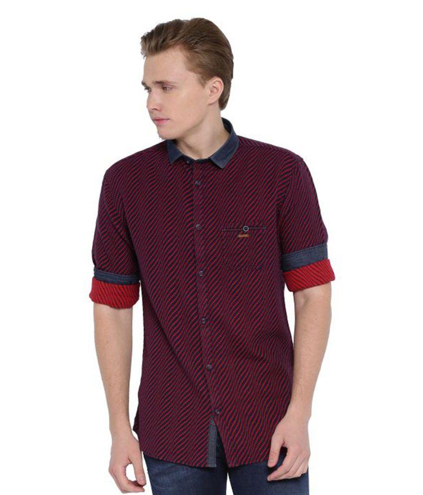 Showoff Maroon Casuals Slim Fit Shirt