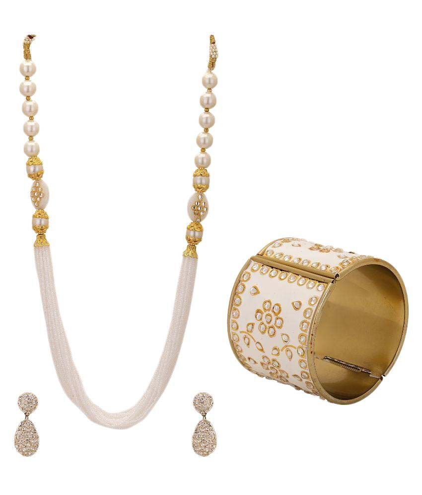 Hashtag Combo Of White Moti Necklace,Pair Of Lac Earings And Bangle