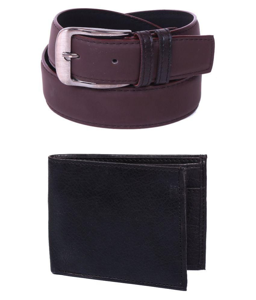 Calibro Brown Faux Leather Formal Belts with Wallet